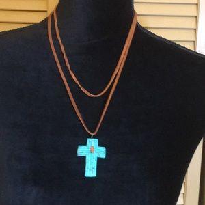💖Turquoise Cross Pendant w/Leather Cord